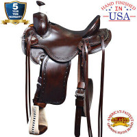 16 In Western Horse Saddle Leather Ranch Roping Trail Hilason Marrón oscuro