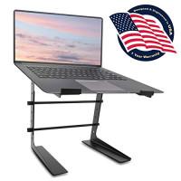 Pyle Soporte portátil ajustable para computadora portátil - Monitor de mesa de pie antideslizante de 6.3 a 10.9 pulgadas o elevador de estación de trabajo de escritorio de computadora con alineación de altura de nivel para DJ, PC, juegos, hogar u oficina