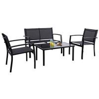 Flamaker - Juego de 4 muebles para patio, muebles de exterior, juego de muebles de patio al aire libre, juego de bistró de Textilene, juego de conversación moderno, juego de bistró negro con sofá de dos plazas, mesa de té para el hogar, césped y balcón (n