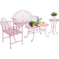 LAZZO - Juego de 4 muebles de patio, moderno jardín al aire libre, patio, conversación, bistró, sillas con estructura de metal de hierro fundido, mesa de centro y bandeja, mesa auxiliar de metal para porche, junto a la piscina, balcón, color rosa