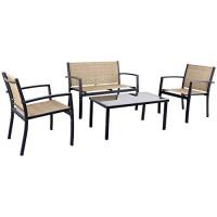 JUMMICO Juego de muebles de patio de 4 piezas Juego de conversación moderno Juego de bistró de jardín al aire libre con mesa de centro de vidrio para el hogar, porche, césped (amarillo)