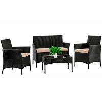 Juego de muebles de patio FDW, 4 piezas, silla de ratán para exteriores, sofá de mimbre, juegos de bistró de conversación de jardín para patio, piscina o patio trasero