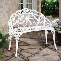 HOMEFUN Banco para exteriores de aluminio fundido, bancos de porche delantero Muebles de patio de dos plazas de metal para jardín, talla de rosas y resistente a la intemperie, blanco