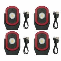 Maxxeon MXN00810 WorkStar Cyclops Luz de trabajo LED recargable USB, roja (paquete de 4)