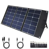 TWELSEAVAN Cargador de panel solar Sunpower plegable portátil de 60 W para Jackery Explorer 160/240/500 Power Station / Suaoki / Goal Zero Yeti / Rockpals Solar Generator, con puerto USB QC3.0, puerto USB tipo C