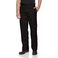 Dickies - Pantalón de trabajo de sarga con doble rodilla y ajuste holgado para hombre, negro, 42 W x 32 L