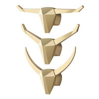 Gancho de cabeza de animal de diamante nórdico Gancho de resina Tauren (Paquete 3) Gancho decorativo Gancho para colgar en la pared Gancho para colgar en la pared Gancho decorativo