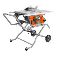 Sierra de mesa portátil con soporte RIDGID de 10 pulg. Plegable para contratistas en el lugar de trabajo con ruedas