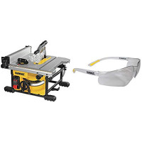 Sierra de mesa DEWALT para el lugar de trabajo, compacta, 8-1 / 4 pulgadas con gafas de seguridad protectoras livianas (DWE7485 y DPG52-1C)