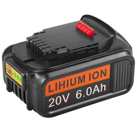 Batería de repuesto mejorada de 6.0Ah 20V para 20V Max XR DCB206 DCB180 DCD985B DCB200 DCB200-2 DCB204 DCB204-2 DCB205 DCB205-2 DCD / DCF / DCG Series Herramientas eléctricas inalámbricas (1 paquete)