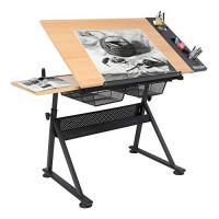 Bonnlo - Escritorio de dibujo profesional, mesa de dibujo de madera, mesa inclinable de altura ajustable con cajón de almacenamiento para lectura, escritura, arte, estación de trabajo