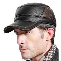 Gorra de cuero Sumolux para hombre con orejeras, estilo militar, cadete, estilo militar, sombrero plano, ajustable para invierno al aire libre
