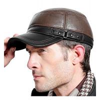 Gorra de cuero Sumolux para hombre con orejeras, estilo militar, cadete, estilo militar, sombrero plano, ajustable para exteriores, invierno, marrón