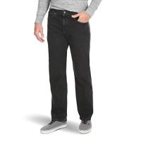 Wrangler Authentics Vaquero de cintura flexible de ajuste relajado grande y alto para hombre, denim oscuro, 44x32