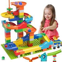 COUOMOXA Marble Run Building Blocks Classic Big Blocks Juego de ladrillos de juguete STEM Pista de carreras para niños compatible con todas las marcas principales 110 PCS Varios modelos de pistas para niños, niñas, niños pequeños, 3,4,5,6,7,8+