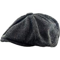 KBW-310 BLK S / M Ascot Ivy Button Newsboy Hat Sombrero de mezcla de lana Applejack