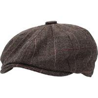 KBW-310 BRN S / M Ascot Ivy Button Newsboy Hat Sombrero de mezcla de lana Applejack