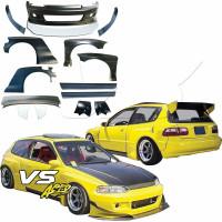 VSaero FRP TKYO Kit de cuerpo ancho con ala 13pc EG 3dr Hatchback para Honda Civic