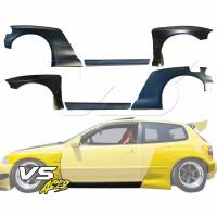 Guardabarros de cuerpo ancho VSaero FRP TKYO con kit de laterales EG 3dr Hatchback para Honda Ci