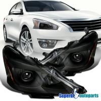 Para 2013-2015 Nissan Altima Sedan Negro Proyector Faros delanteros Par de lámparas